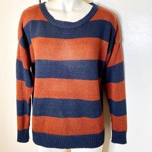Forever 21 Rust Navy Blue Stripe Sweater L